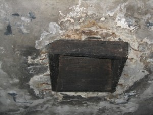 Reconstruction of one of the roof holes allegedly used at Auschwitz for the introduction of Zyklon B pellets.
